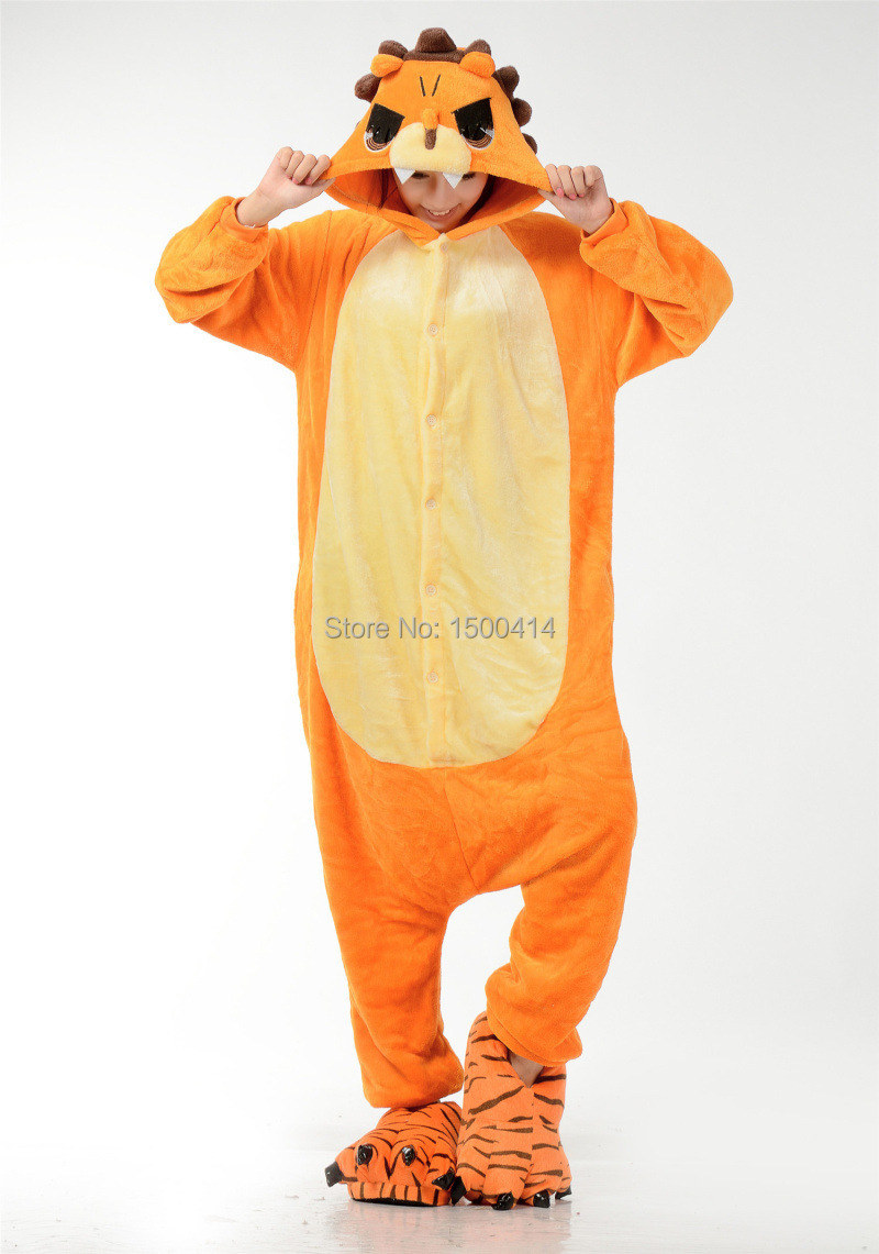 Animal Costume Lion Onesies (not include slipper) Adult Pajama Clothes For Halloween Carnival Masquerade Party