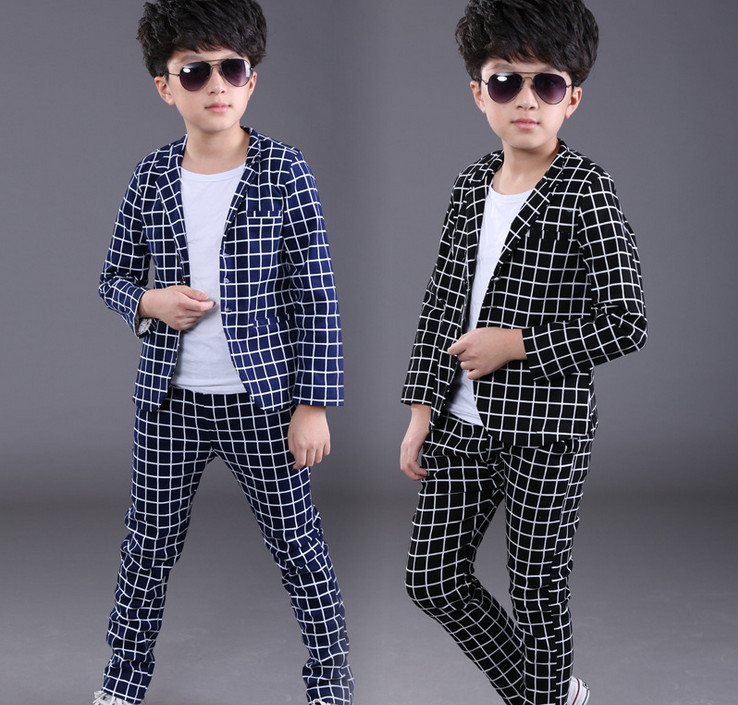 Retail New Children Clothing Set England Plaid Kid Clothes For Gentlemen Party Wedding Suits Baby Boy Formal Coats and Pants 2018 new children clothing set england kids clothes gentleman boys party wedding suits baby boy formal plaid long sleeved sets