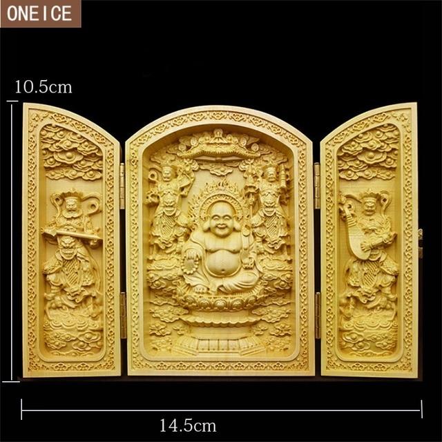 Escultura de Buda Chino de madera sólida pura tallado exquisito 3 estatua de Buda plegable abierta decoración del hogar Accesorios íntimos