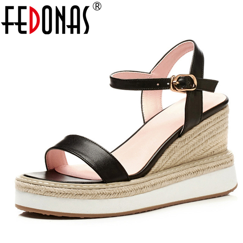 FEDONAS Women Brand Elegant Genuine Leather Shoes Woman Wedges High Heeled Wedding Party Pumps Shoes Woman Platforms Sandals fedonas new women gladiator sandals wedges high heel fashion ladies glitters wedding party shoes woman platforms summer sandals