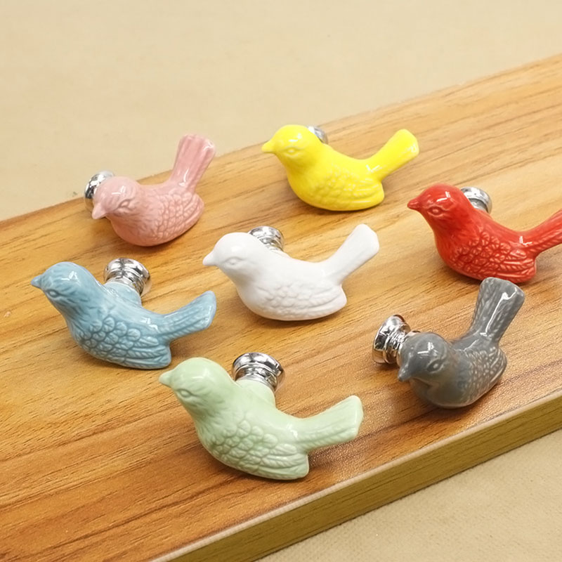 1pair cartoon pigeon shaped door handle colorful kitchen for House shaped wardrobe