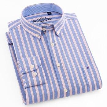 Мужской с длинным рукавом в клетку/полоску Оксфорд Платье рубашка с одним накладным карманом с коробкой-плиссированной задней кокеткой