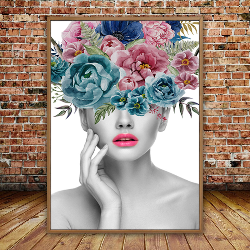 Fashion Beautiful Woman Portrait And Flower Canvas Paintings Wall Canvas Art Pictures Poster Print For Living Room Home Decor