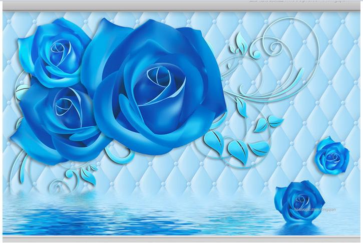 3d wallpaper custom Blue roses reflection soft package 3 d ...