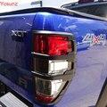 2016-2017 для ford ranger T7 аксессуары ABS матовый черный задние фонари обложки обрезать для FORD RANGER T7 стайлинга автомобилей задний фонарь крышка