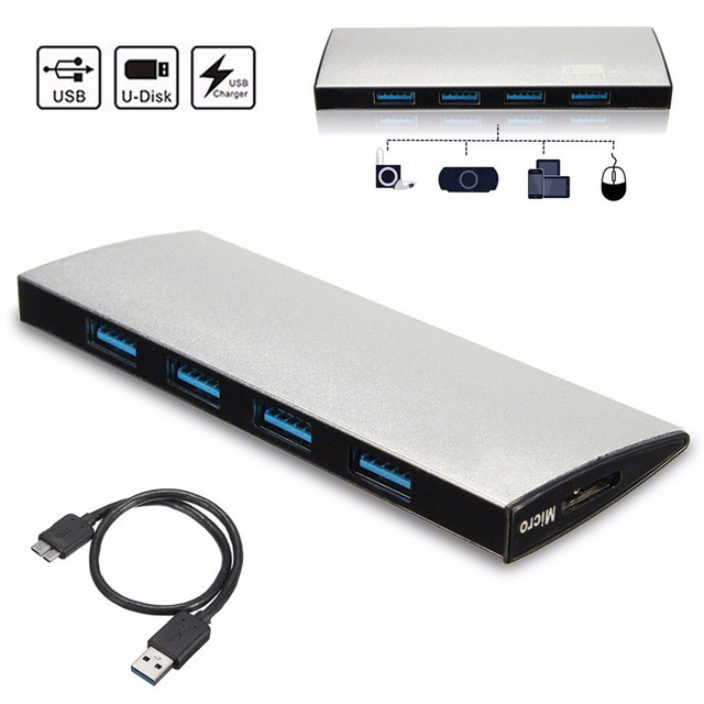 Aluminum Mini USB 3.0 Hub 4 Port USB HUB Splitter 5Gbps