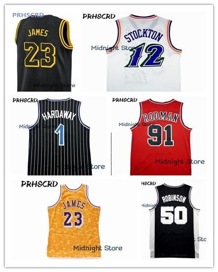 2018/19 New Basketball Shirt 23 Jerseys Lebron James Jersey 1 Penny Hardaway 12 John Stockton 91 Dennis Rodman Basketball jersey цены