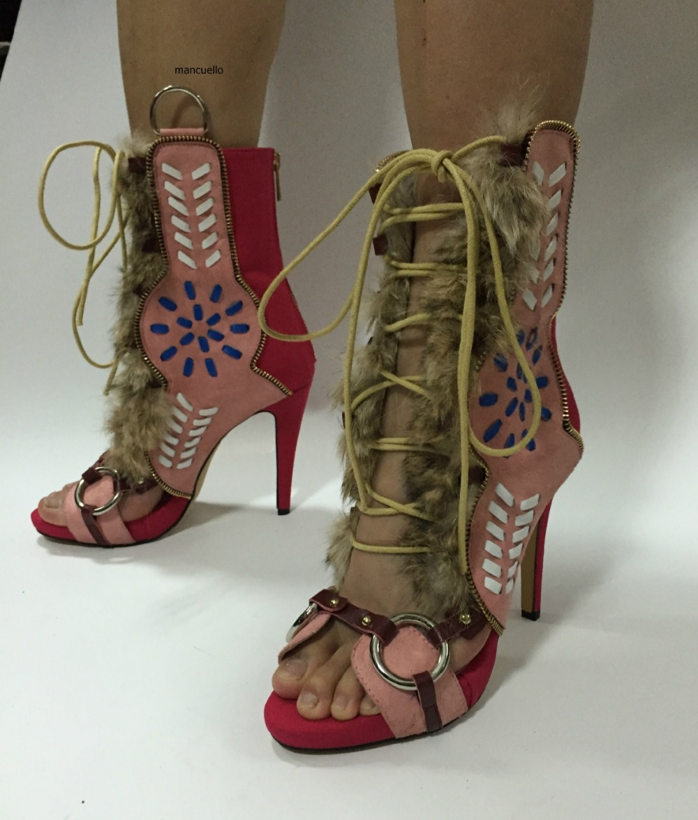New Arrival Design Color Patchwork Stiletto Heels Sandal Booties Fancy Open Toe Side Zipper Decoration Cross Strap Dress Sandals denim zipper hollow worn stiletto womens sandals