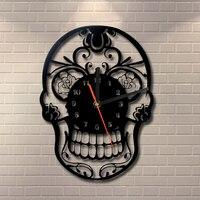 1 חתיכה היום של מוות מקסיקני גולגולת קישוט פני טבעת קוורץ Vintage אמנות בית תפאורה שעון קיר