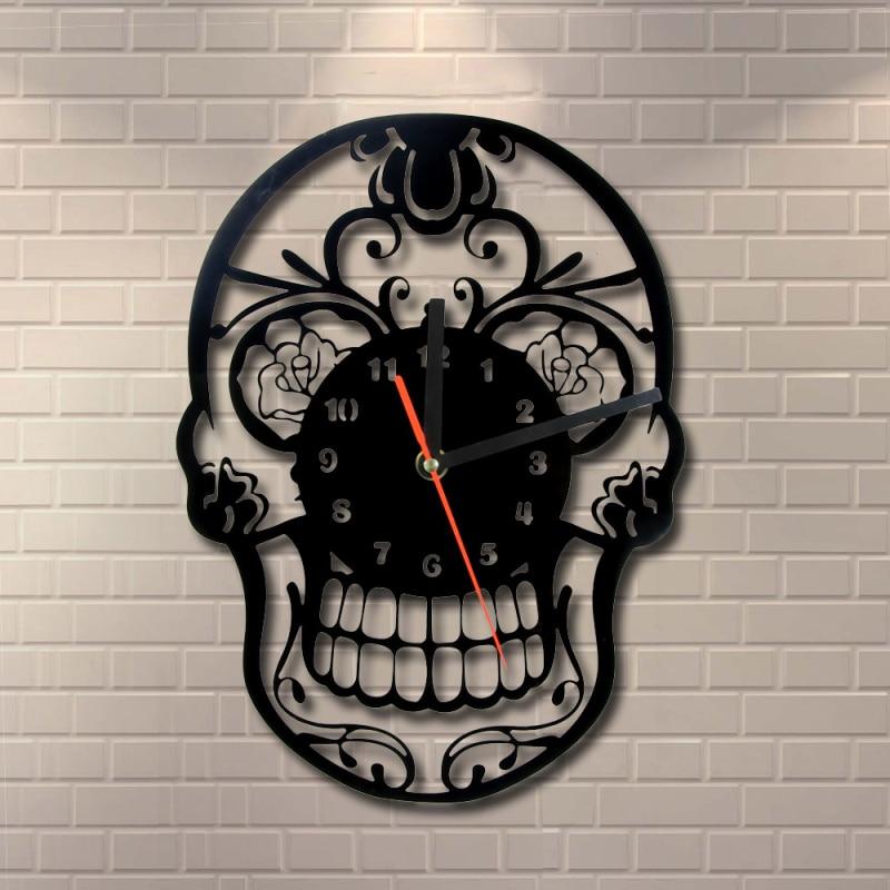 1 Pièce Le Jour de La Mort Mexicain Crâne Ornement Quartz Anneau Visage Vintage Art Décor À La Maison Horloge Murale