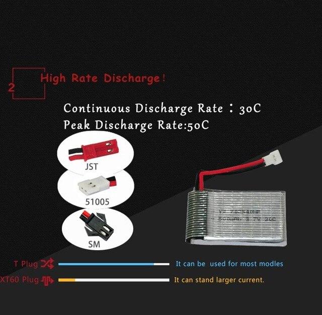 5 pcs hrb batteria akku 3.7 v 500 mah lipo bateria para hubsan x4 h107 h107l h107c h107d v252 jxd385 quadcopter