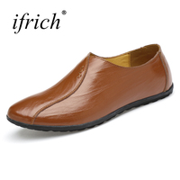 Ifrich New Trend Men Leather Shoes Casual Shoes Slip On Mens Walking Fashion Shoes Black Brown