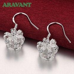 925 Silver Jewelry Earrings Women Crown Crystal Drop Earring For Women Engagement Jewelry