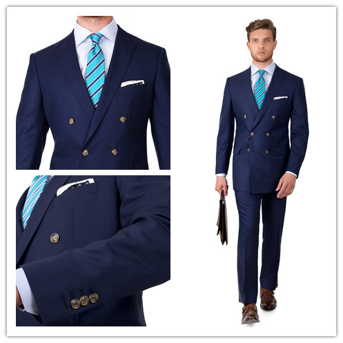 New arriving wool tailor made slim fit suits for men navy Herringbone double breasted wedding dress custom mens 2 piece suit