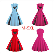 M-5XL Women Robe Pin Up Dress Retro 2017 Vintage 50s 60s Rockabilly Dot Swing Summer female Dresses Elegant Tunic Vestido
