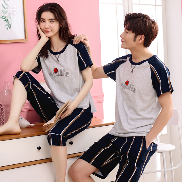 5fc861cf2 Aliexpress.com   Buy Summer 100% Cotton Couple Pajama Sets Smile ...