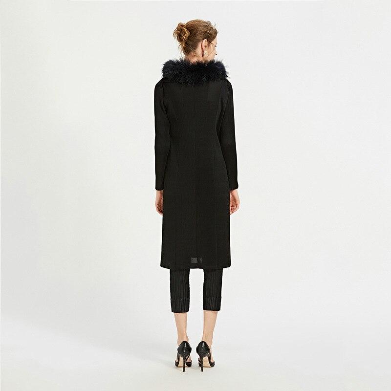 Printemps Mode Vêtements vent Azterumi À Décontracté Miyake Noir Mince Élégant Coupe Nouveau Plissée Issey De 2019 Manteau Femmes Capuchon q1E1ScR