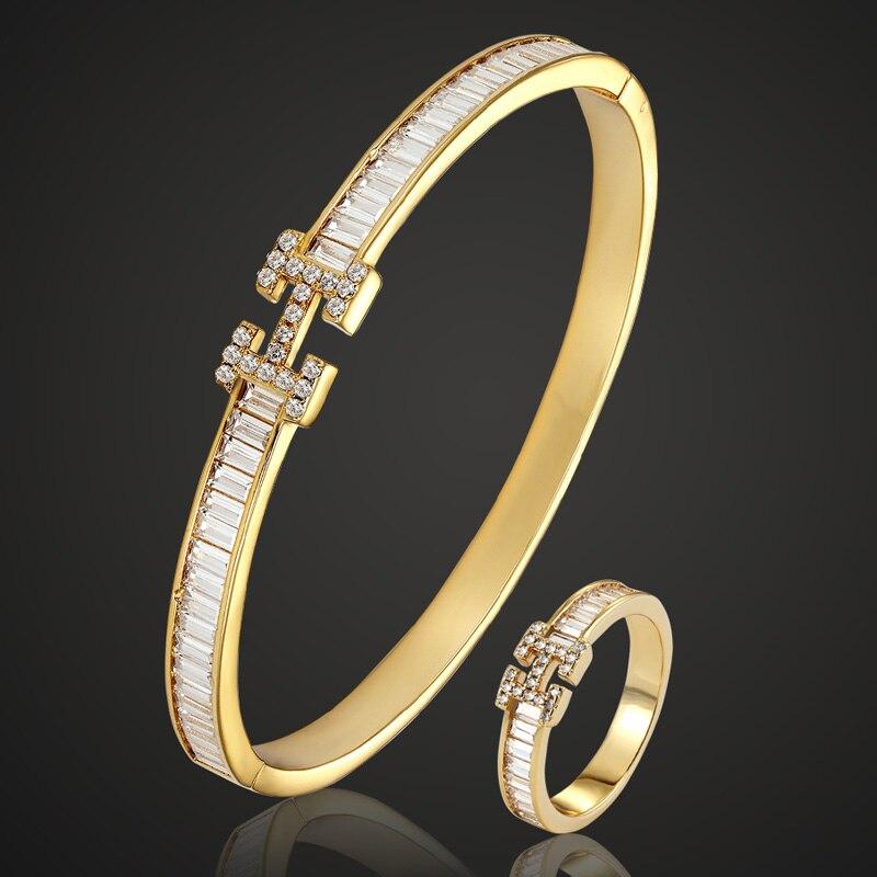 Blucome AAA Zircon bangle Jewelry Women s Wedding Bijuteriras Copper Men Bangle Pulseira Women Love Bangle