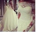 2016 new long-sleeved laço de cetim princesa do vestido de casamento