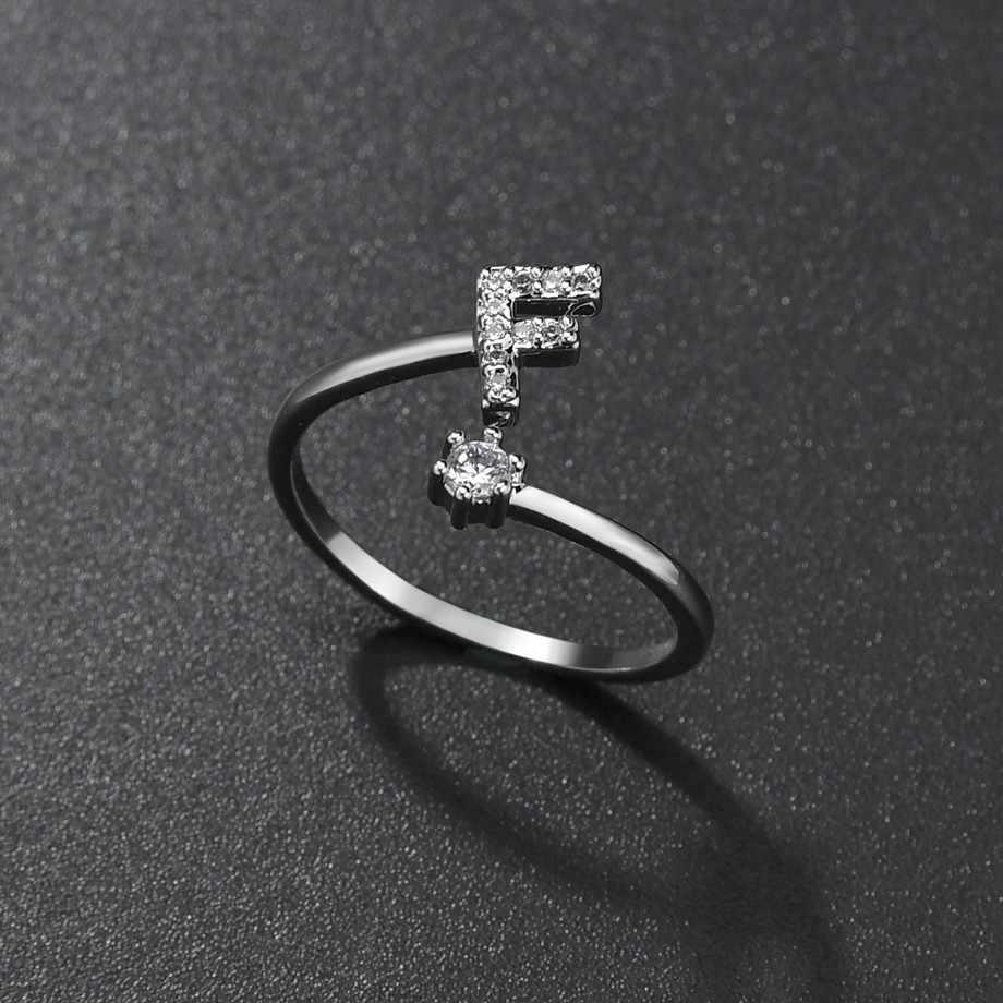 แฟชั่น Handmade ชื่อ A-Z เริ่มต้นแหวนผู้หญิงสาวเกาหลี Silver Rhinestone คริสตัลตัวอักษรแหวนเปิดเครื่องประดับ Drop Shipping