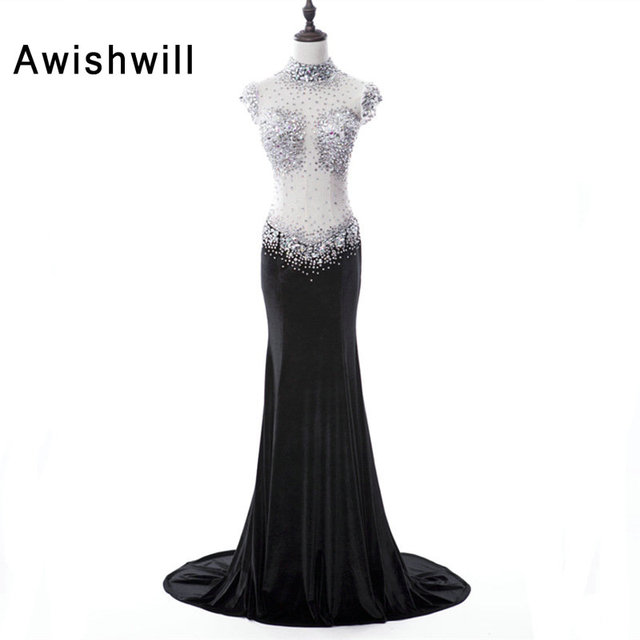 Sexy Long Prom Dress See Through Beadings Rhinestones Sheer Back Velvet  Black Party Dress Slim Special Evening Clothes for Women 01b3fadcfd37