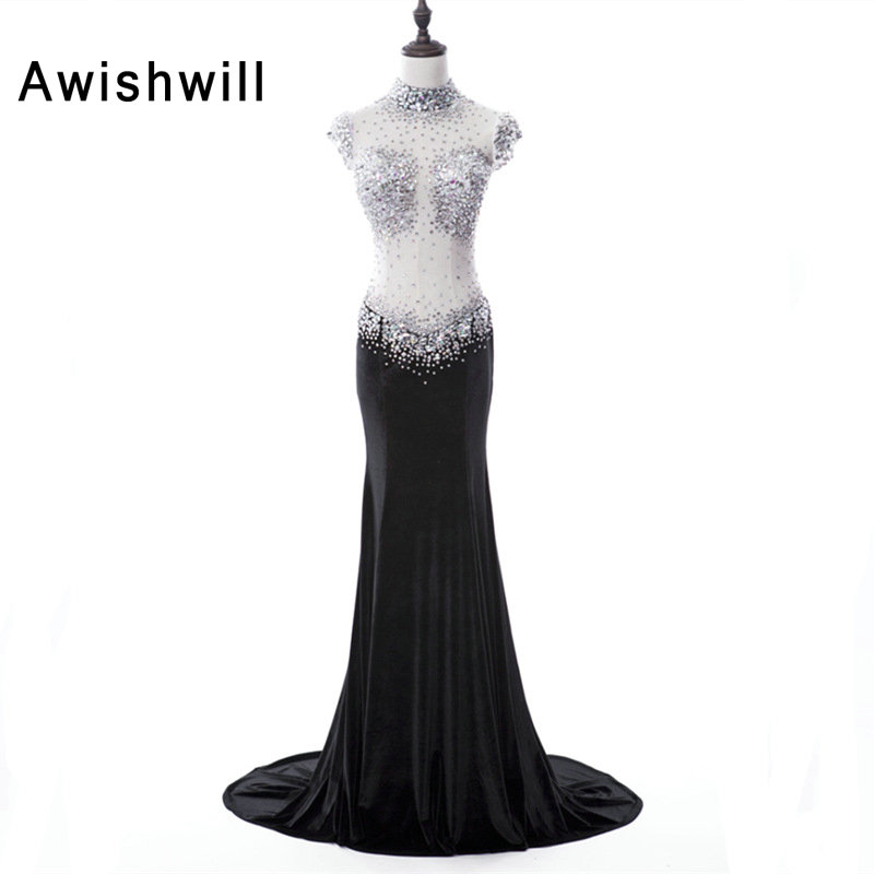 Sexy Long   Prom     Dress   See Through Beadings Rhinestones Sheer Back Velvet Black Party   Dress   Slim Special Evening Clothes for Women