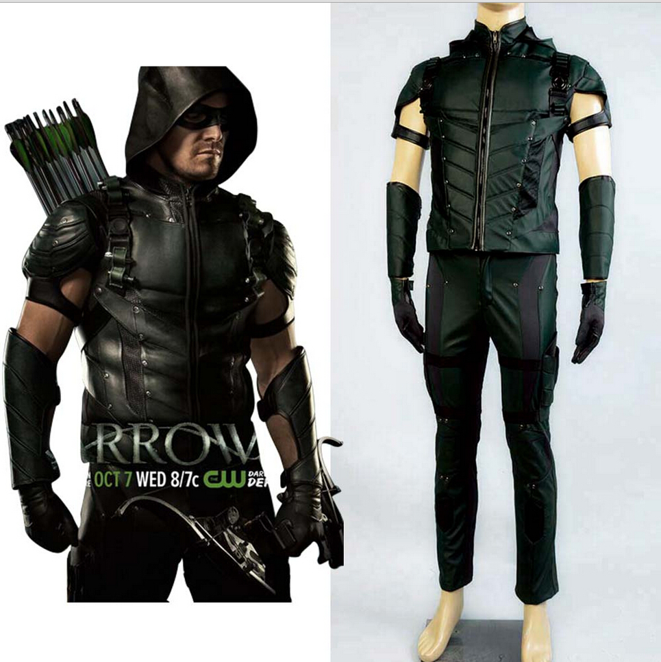 Green Arrow Season 4 Cosplay Costume Superhero Oliver Queen Leather Uniform Full Set Halloween Carnival Costume For Adult Men