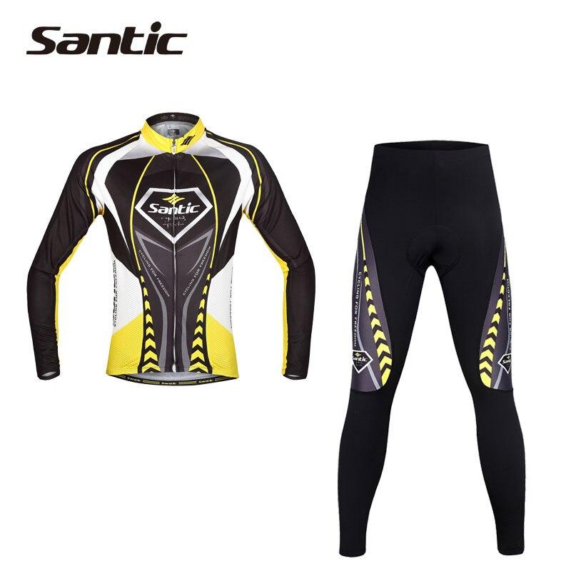 Santic Spring Long Sleeve Cycling Jersey Men Suits Jacket Cycling Padded Pants Bike Clothing Ciclismo Bicicletta WMCT039  santic cycling men s downhill ridet shirt long jersey long sleeve white