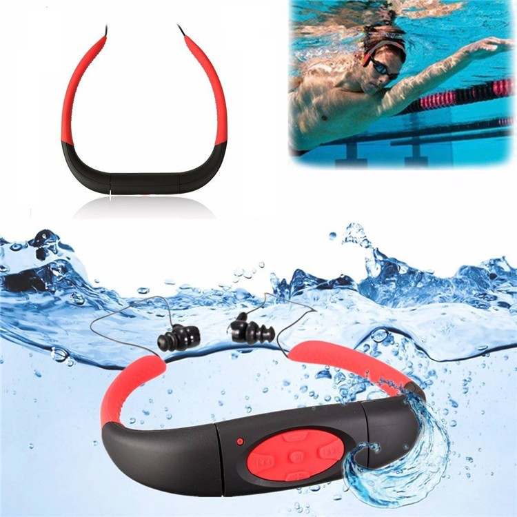 Askmeer IPX8 Waterproof 8GB Underwater Sport MP3 Music Player Neckband Stereo Earphone Audio Headset with FM for Diving Swimming (2)