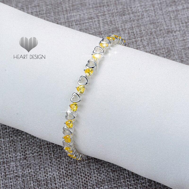 Bracelets à la mode en argent jaune zircon cubique chaîne en argent Sterling 925 femmes de mariage bijoux de mode charmant Bracelet Bracelet
