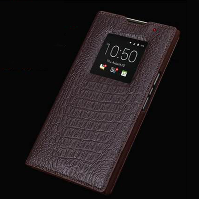 bilder für Wobiloo Hohe Qualität Flip Tasche für Blackberry Priv Fall Echt Ledertaschen Fenster Business Shell für Black Berry Priv
