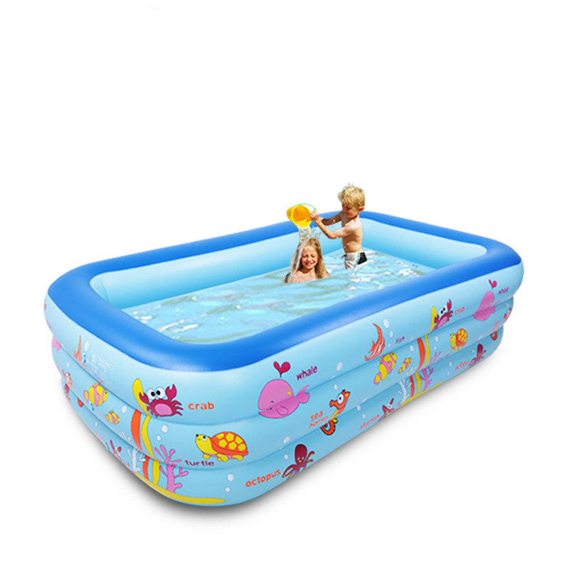 US $82.0 |250cm rectangle 3 ring Kids inflatable pool baby swimming pool  family children inflatable swimming pool Indoor swim pool-in Swimming Pool  ...