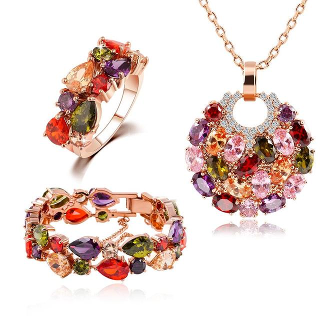17KM Austrian Crystal Jewelry Color Zircon Women Wedding Jewelry Sets Gold Color Earrings Ring Necklace Bracelet Christmas Gifts