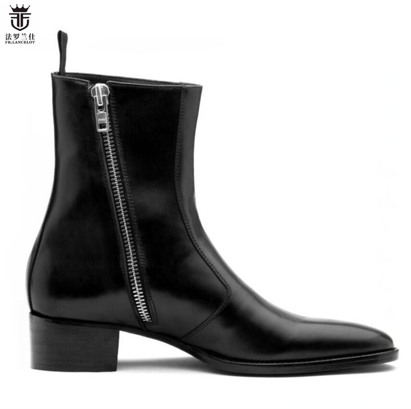 2019 FR LANCELOT Luxury brand Black real leather fashion pointed toe men british boots Side zipper