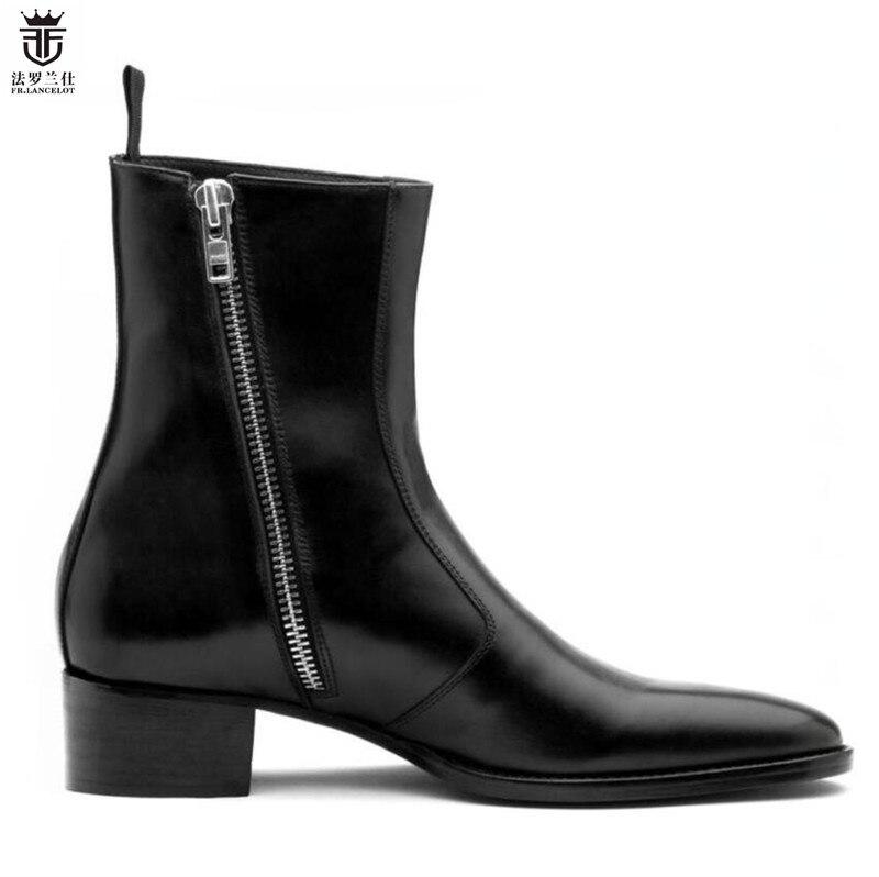 2019 FR. LANCELOT marca de Luxo Preto de couro real de moda pontas do dedo do pé dos homens britânico zíper Lateral botas mujer bota Sapatos de lantejoulas Mens