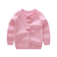 Sweet Bow Girl Sweater Cardigan Coat Autumn Kids Knitted Cotton Sweater For Baby Girl Long Sleeve