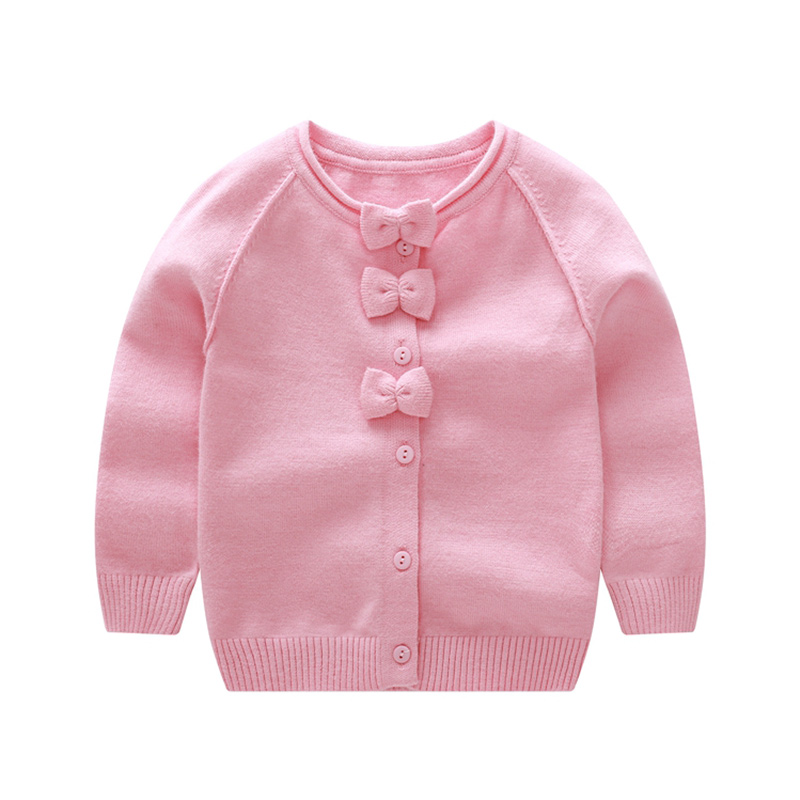 Sweet Bow Girl Sweater Cardigan Coat Autumn Kids Knitted Cotton Sweater For Baby Girl Long Sleeve O-Neck Cardigan Girls Clothing sweet style round neck long sleeve printed pocket design cardigan for women