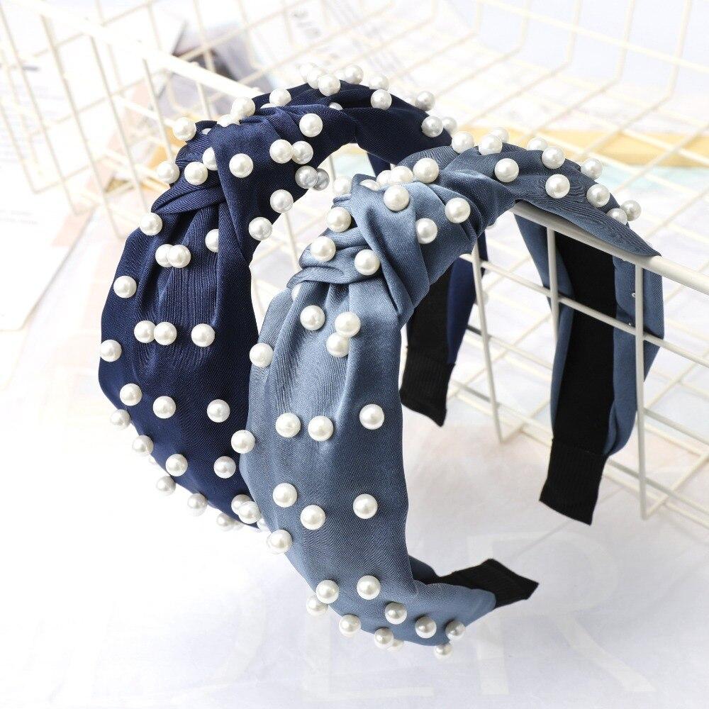 Haimeikang Solid Color Satin Hairband New Imitation Pearls Women Hair Hoop Hairbands Girls Knotted Headband Hair Accessories