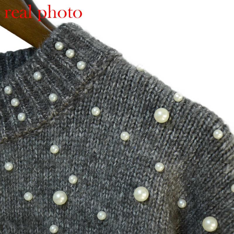 Simenual 秋冬 2018 女性のセーターやプルオーバービーズランタンスリーブニットセータープルオーバー女性グレースリムジャンパー