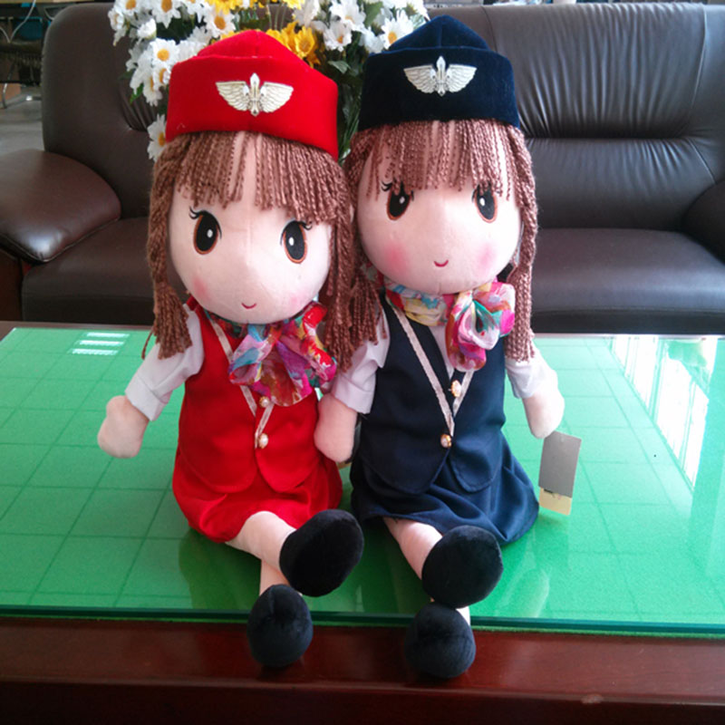 Hot New Fashion Baby Girls Doll Stewardess Cartoon Uniform Charming Style Stuffed Rag Cloth Dolls Toys Child Birthday Gift