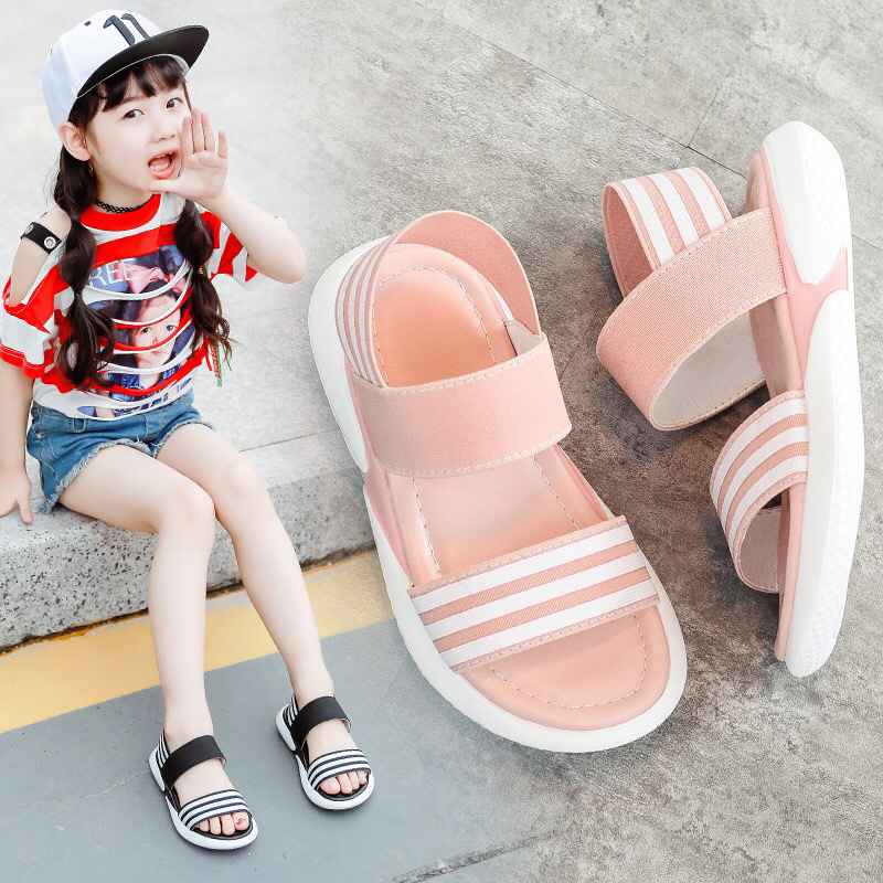 Children's Sandals New Casual Summer Girl Shoes Soft Bottom Tide The Wild Baby Elastic Beach  Kids Shoes Mini Melissa