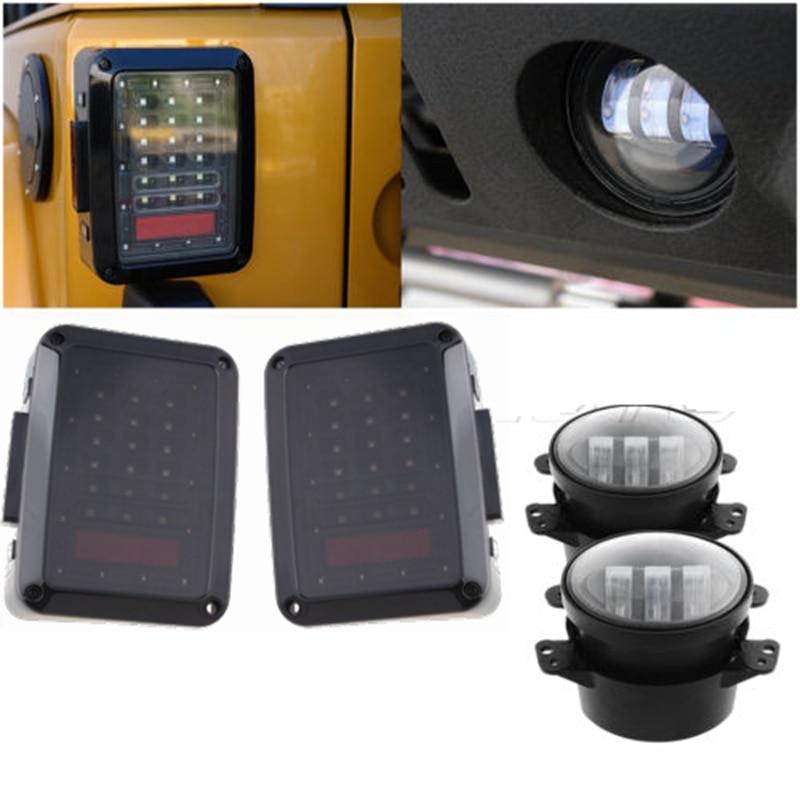 For 07-15 Jeep Wrangler Smoken LED Tail Lights/ White 4 Inch Led Fog Light siku внедорожник jeep wrangler с прицепом для перевозки лошадей