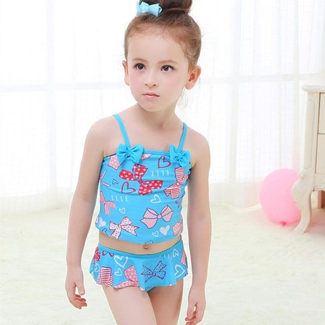 c59549940a14a Vente au détail mignon enfants maillot de bain filles bowknot bikini  ensemble bébé fille maillots de