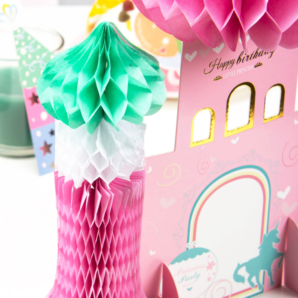 Pink Princess Birthday Party Decorations Honeycomb Castle Table ...