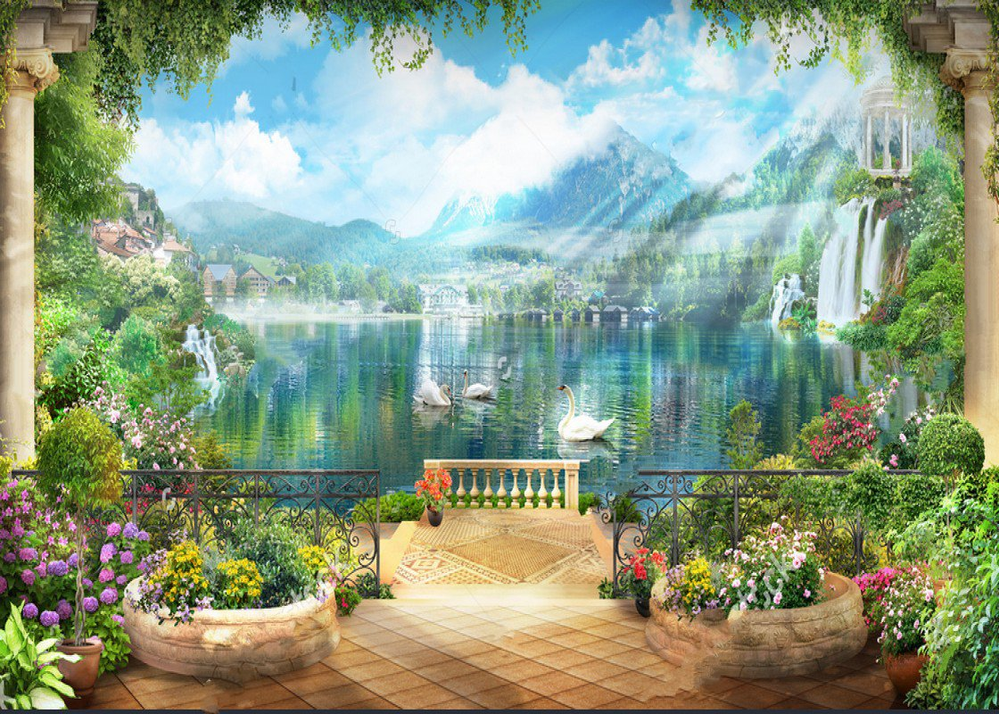 flowers blue sky white clouds lake white swans mountains backdrop Vinyl cloth High quality Computer print scenic Background