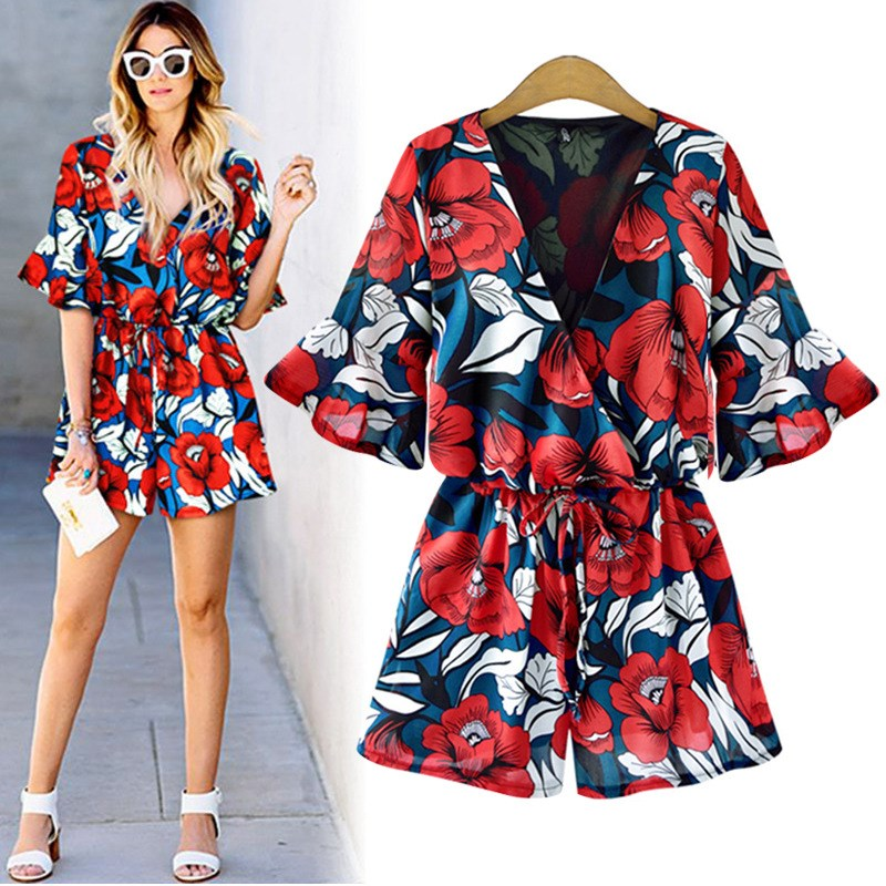 2019 Fashion Spring  Summer Plus Size Women Short Flower Print Playsuits Sexy Deep V Neck Sashes Boho Floral Print Playsuits