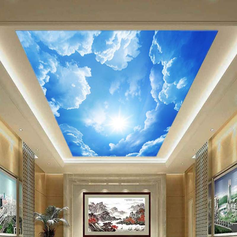 Custom Size Blue Sky White Clouds 3D Ceiling Sticker Removable Waterproof Self-adhesive Wall Mural Photo Wallpaper For Bedroom