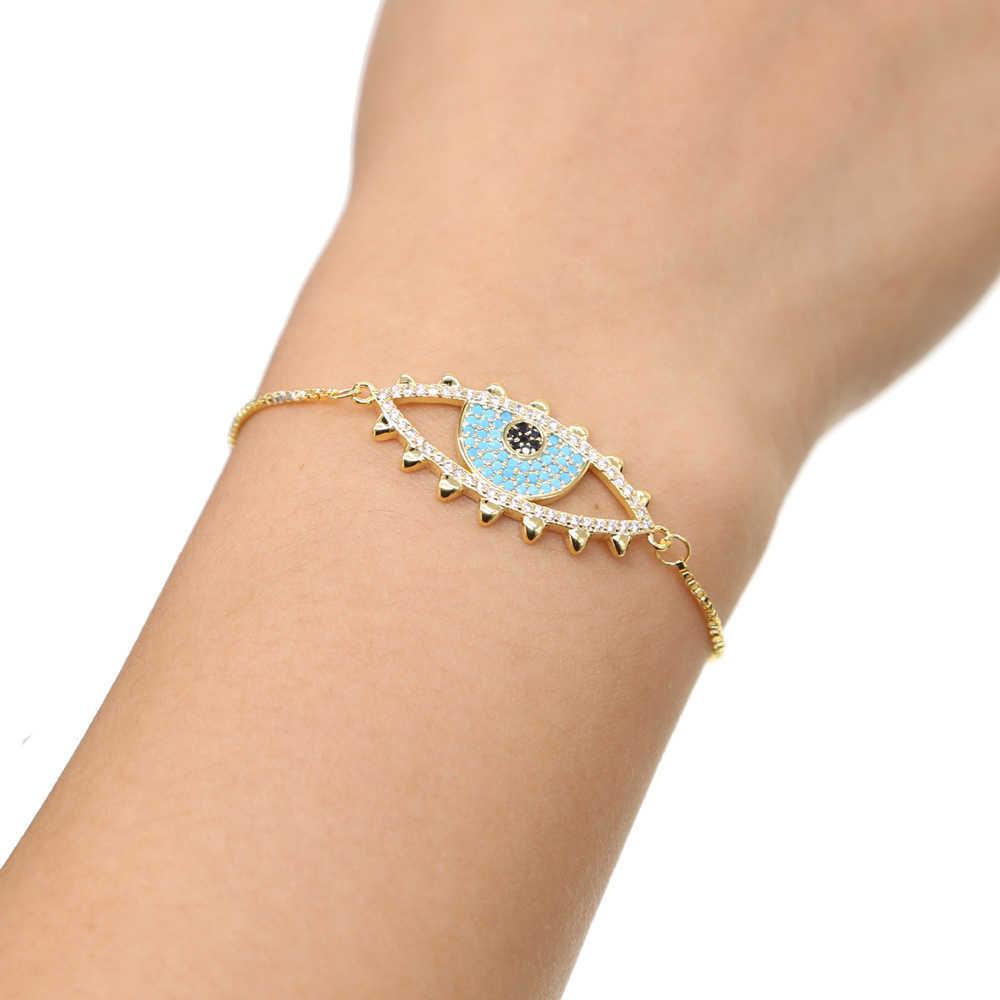 Mới THIẾT KẾ Đơn Giản Thổ Nhĩ Kỳ Vàng màu Mắt Quỷ Bracelet Pave CZ Blue Eye Dây Chuyền Vàng Bracelet Vòng Tay Thời Trang cho Phụ Nữ