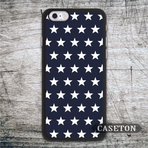White Stars On Navy Blue Case For iPhone 7 6 6s Plus 5 5s SE 5c 4 4s and For iPod 5 Retro High Quality Cover Free Shipping