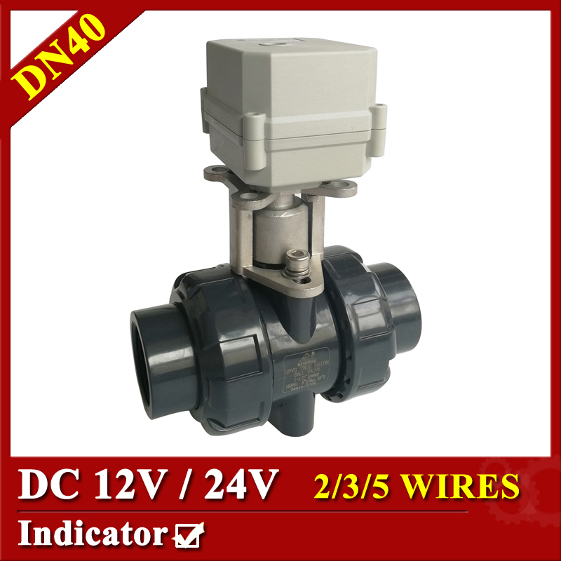 Tsai Fan automatic control valve 11/2 DC12V/24V 2/3/5/7 wires control PVC ball valve DN40 BSP/NPT for water equipment tsai fan electric ball valve 1 2 dc 12v 24v 2 3 5 7 wires ss304 valve dn15 motorized ball valve for water control hvac systems